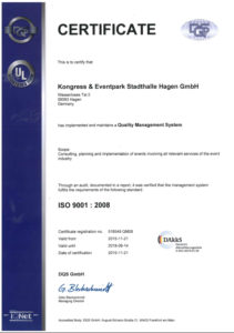 2016 ISO Zertifikat englisch