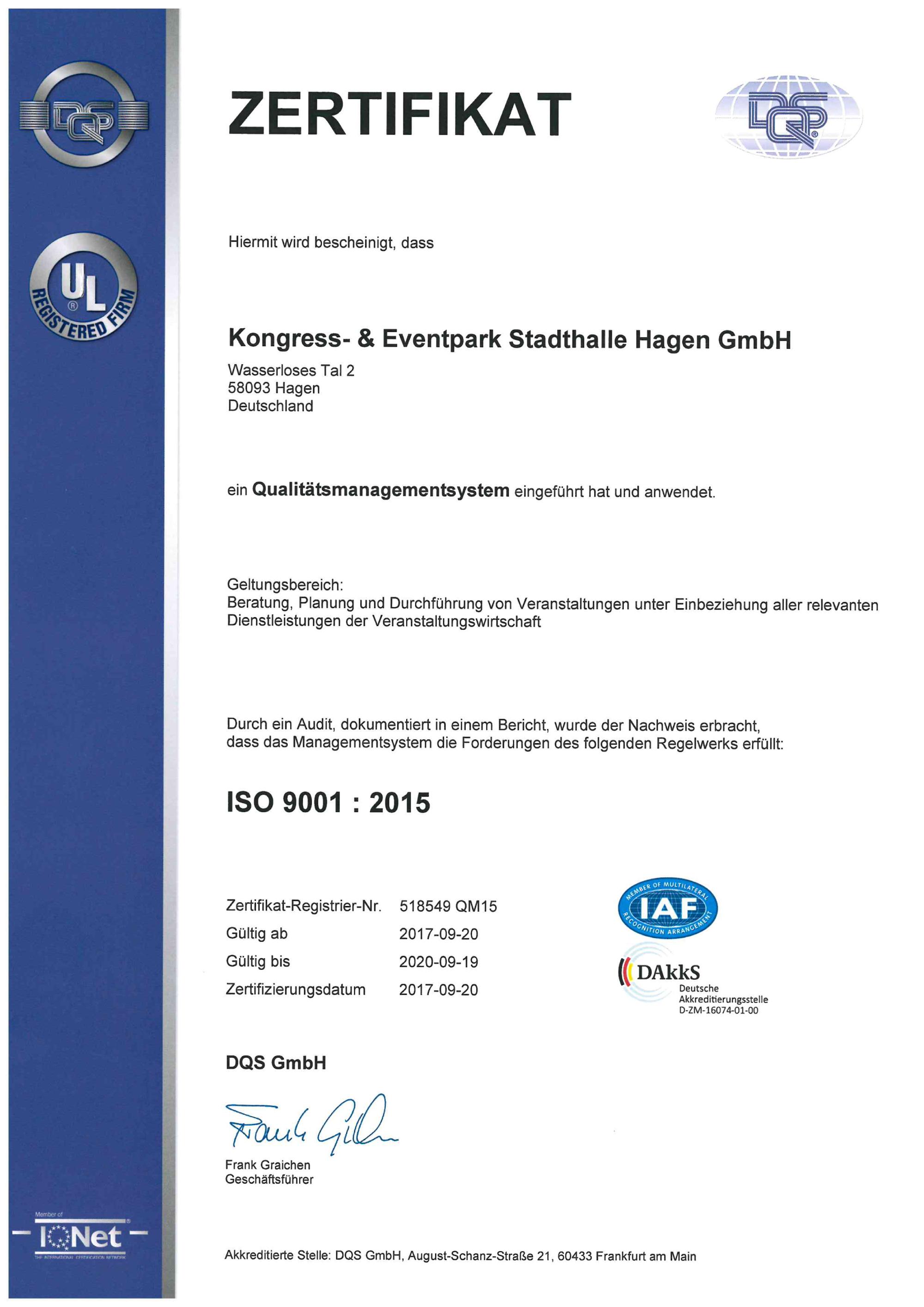 2016 ISO Zertifikat deutsch